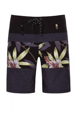 Butung-Herren-Badehose-Men-Swim-Shorts-leafs-print-Grey-Color-Dunkel-Grau-Farbe-Palmen-Muster-Tropical