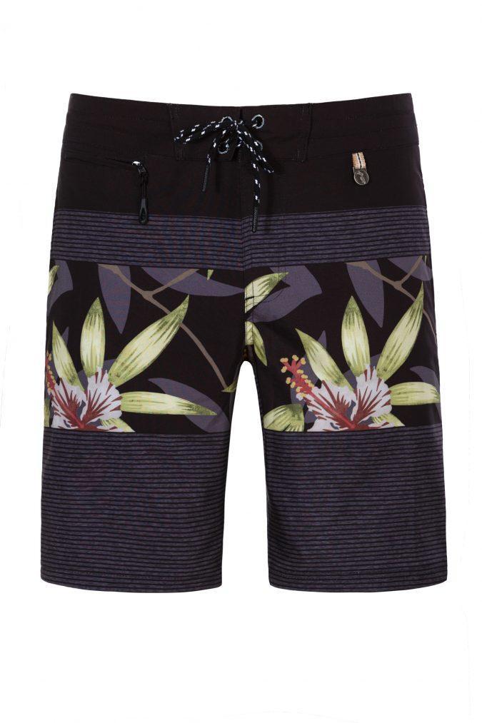 Butung-Herren-Badehose-Men-Swim-Shorts-leafs-print-Grey-Color-Dunkel-Grau-Farbe-Palmen-Muster-Tropical
