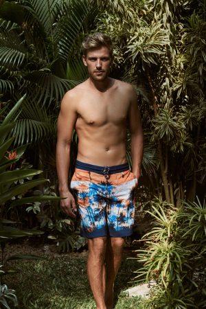 Canggu-Herren-Badehose-Men-Swim-Shorts-Orange-Color-Orange-Farbe-Palm-Print- Tropical
