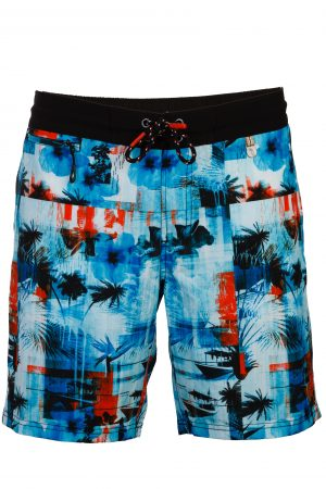 Maluku-Herren-Beachshorts-Badehose-Men-Swim-Shorts-Blue-Color-Blau-Farbe-Palm-Print- Tropical