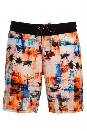 Maluku-Herren-Beachshorts-Badehose-Men-Swim-Shorts-Red-Color-Rot-Farbe-Palm-Print- Tropical