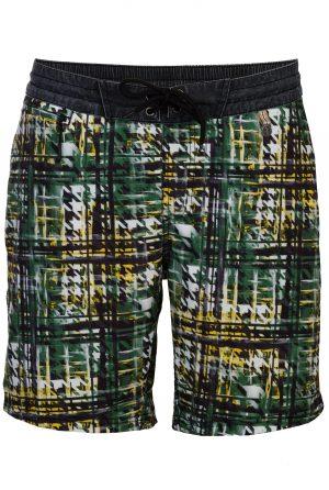 Kendari-Herren-Beachshorts-Badehose-Men-Swim-Shorts-Coconut-Color-Braun-Farbe-Check-Print- Olive-Farbe