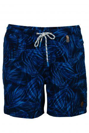 Punai-Herren-Badehose-Men-Swim-Shorts-Navy-blue-Blau-Rot-Color-Farbe-Palm-Print- Tropical