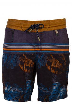 Manado-Herren-Badehose-Men-Swim-Shorts-tropical-leafs-print-navy-Color-Dunkel-Blau-Braun-Farbe-Palmen-Druck Tropical
