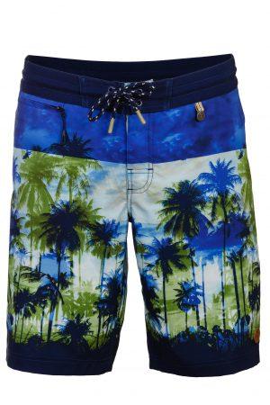 Canggu-Herren-Badehose-Men-Swim-Shorts-Navy-Color-Dunkel-Blau-Farbe-Palm-Print- Tropical-Jungle