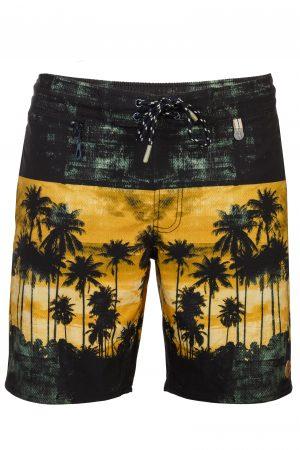 Setia-Herren-Badehose-Men-Swim-Shorts-Coconut-Color-Grau-Braun-Farbe-Palm-Print- Tropical