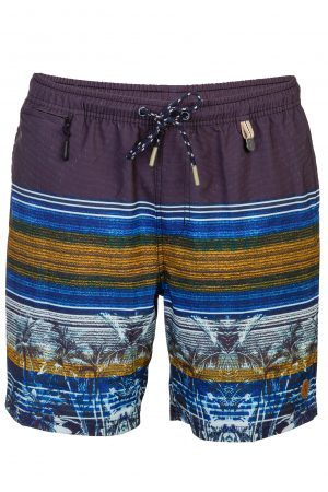 Punai-Herren-Badehose-Men-Swim-Shorts-Coconut-Color-Braun-Farbe-Palm-Print- Tropical