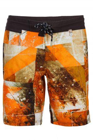 Mega-Herren-Badehose-Men-Swim-Shorts-Orange-Color-Orange-Farbe-Geometri-Graphic-Print-Swimwear-Southcoast-Wasser-Sport