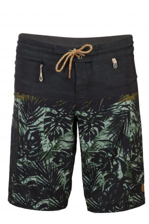 Sambas-Herren-Badehose-Men-Swim-Shorts-Olive-Color-Dunkel-Gruen-Farbe-Palm-Print- Tropical-Jungle