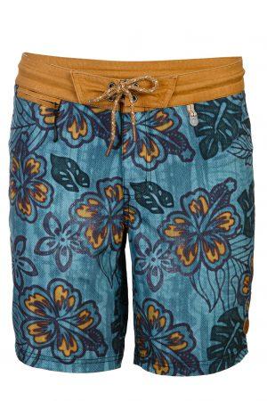 Nias-Herren-Badehose-Men-Swim-Shorts-tropical-leafs-print-navy-Color-Dunkel-Blau-Braun-Farbe-Palmen-Druck Tropical