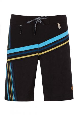 Mega-Herren-Badehose-Men-Swim-Shorts-Black-Stripes-Color-Schwarz-Farbe-Geometri-Graphic-Streifen-Print-Swimwear-Southcoast-Wasser-Sport