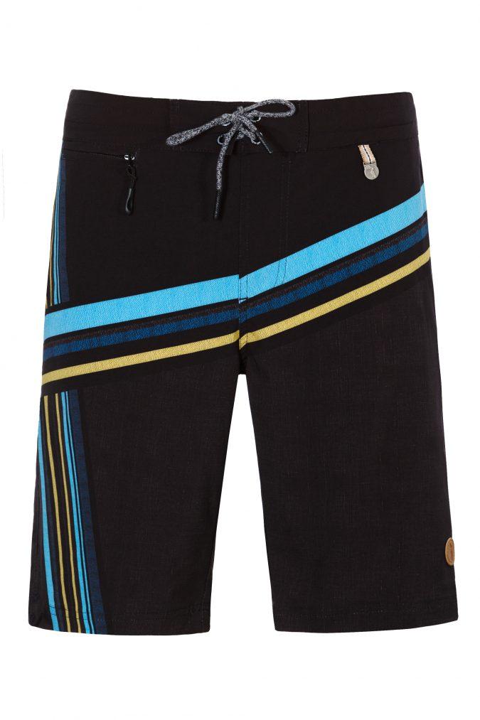 Mega-Herren-Badehose-Men-Swim-Shorts-Black-Stripes-Color-Schwarz-Farbe-Geometri-Graphic-Streifen-Print-Swimwear-Southcoast-Wasser-Sport