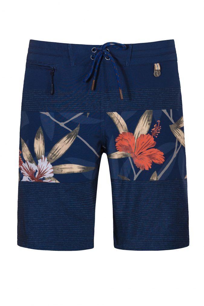 Butung-Herren-Badehose-Men-Swim-Shorts-leafs-print-Blue-Color-Dunkel-Blau-Farbe-Palmen-Muster-Tropical