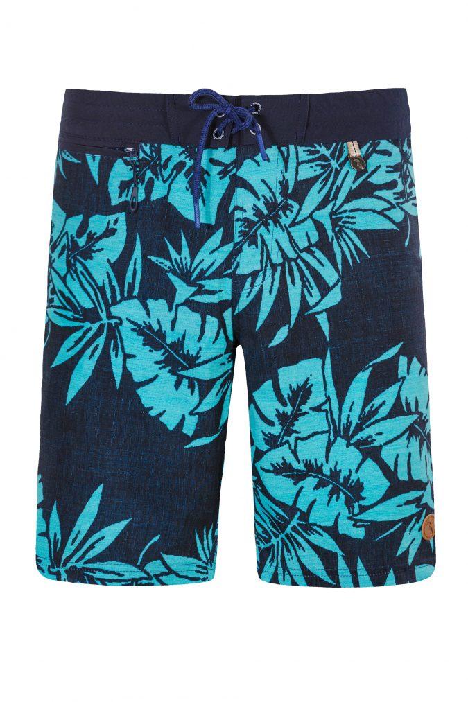Sipora-Herren-Badehose-Men-Swim-Shorts-leafs-print-navy-Color-Dunkel-Blau-Farbe-Palmen-Druck-Tropical