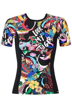 Kurzärmliger-Rashguard-UPF 50-figurbetont-Passform-Paddel-Board-Komik-Animal-Print-Swimwear