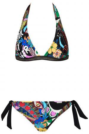 porty-Neckholder-Bikini-set-Animal-print-komik-colour-Farbe-Lurex-Surf-Bikini-Top-Tropical-Flirty-Paradise-Motive
