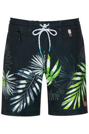 Sumbawa-Herren-Badehose-Men-Swim-Shorts-leafs-print-navy-Color-Dunkel-Blau-Farbe-Palmen-Druck-Tropical