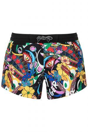 Cool-Print-Komik-Beachshort-summer-trend-water-sport-Wasser-Sport-Schwarze-Badehose-Frauen