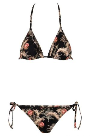 Crochet_Triangle Bikini_Black_Jungle_Floral_Tropical_Paradise