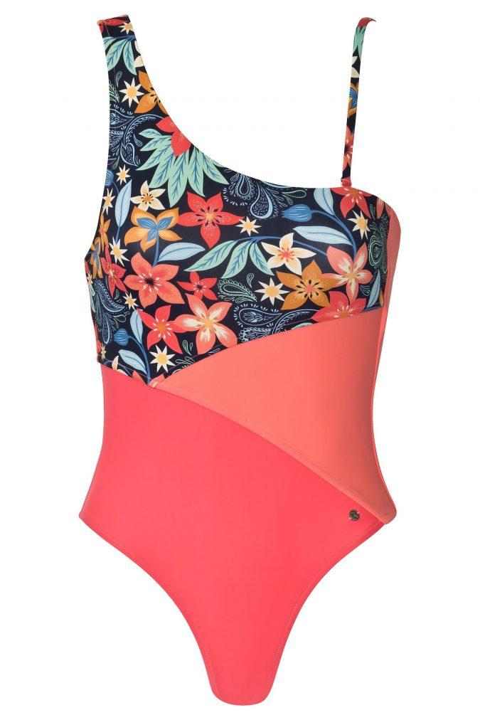 One-Shoulder-Badeanzug-Hawaiian-Prints-Solid-Coral-Colour-Farbe-asymmetrisch-Badeanzug-Color-Blocking
