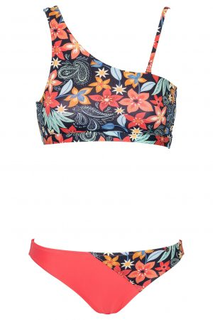One-Shoulder-Bikini-Hawaiian-Prints-Solid-Coral-Colour-Farbe-asymmetrisch-Bikini