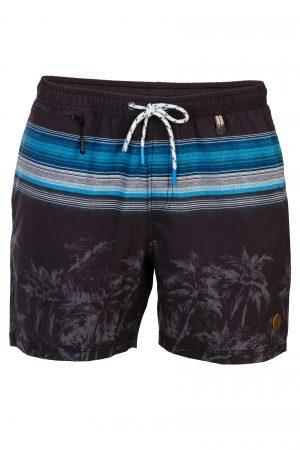 Padang-Herren-Badehose-Men-Swim-Shorts-Black-Grey-colour-Schwarz-Grau-Farbe-Palm-Print- Tropical-Swimwear-Southcoast-camouflage-trend-water-sport-Wasser-Sport
