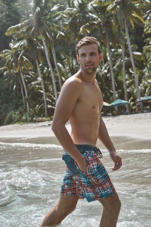 Kendari-Herren-Beachshorts-Badehose-Men-Swim-Shorts-Red-Blue Check-Color-Rot-Blau-Farbe-Check-Print-