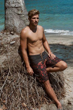 Sambas-Herren-Board-shorts-Badehose-Men-Swim-Shorts-Grey-red-Color-Grau-Rot-Farbe-Palm-Print- Tropica